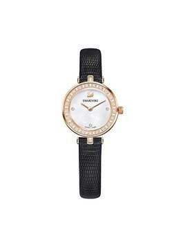 Aila Dressy Mini Watch, Leather strap, Black, Rose gold tone