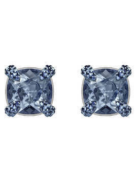 Make up Pierced Earrings, Blue, Ruthenium plating