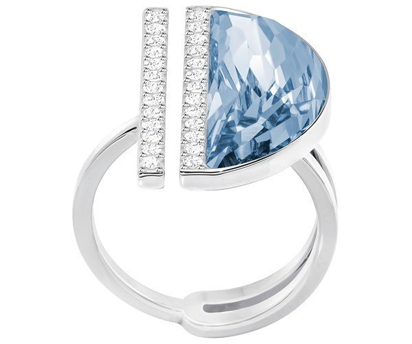 Swarovski Glow Ring, Blue, Rhodium Plating Teal Rhodium-plated
