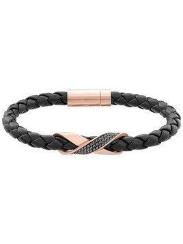 Cross Signature Bracelet, Leather, Black, Rose gold plating