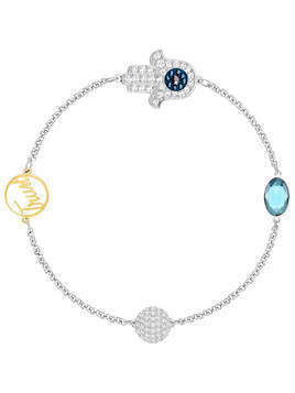 Swarovski Remix Collection Hamsa Hand Symbol Strand, Blue, Mixed plating