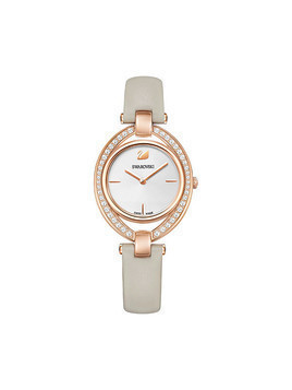 Stella Watch, Leather strap, Gray, Rose gold tone