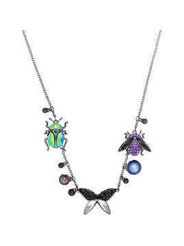 Magnetized Necklace, Multi-colored, Black ruthenium plating