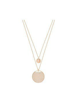 Ginger Layered Pendant, White, Rose gold plating
