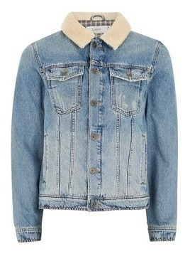 Light Wash Borg Collar Denim Jacket