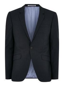 Navy Skinny Suit Jacket With Wool