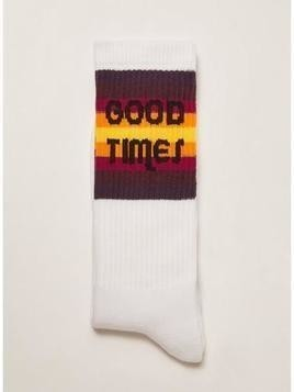 White 'Good Times' Stripe Socks