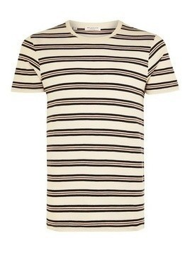 SELECTED HOMME Grey Stripe Organic Cotton T-Shirt