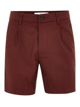 Burgundy Smart Pleated Tencel Shorts