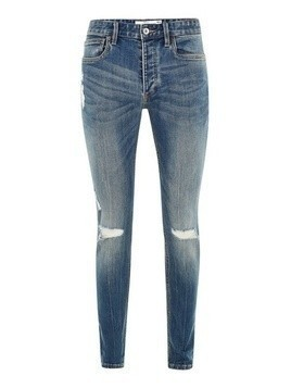 Mid Wash Stretch Skinny Jeans with Rips