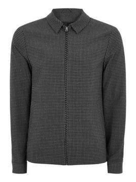Grey Gingham Zip Through Harrington Jacket