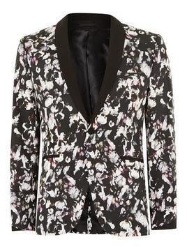 Flower Print Ultra Skinny Suit Jacket