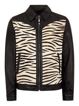 Black Leather Zebra Print Jacket