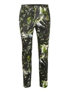Green Palm Print Ultra Skinny Suit Trousers