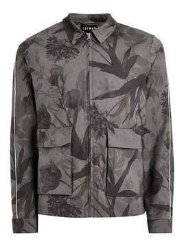 Black And Grey Floral Zip Through Jacket