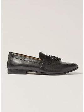 Black Leather Rigel Tassel Loafers