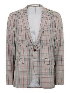 Brown Check Muscle Fit Blazer