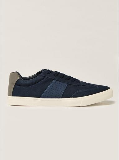 Navy Faux Suede Retro Trainers