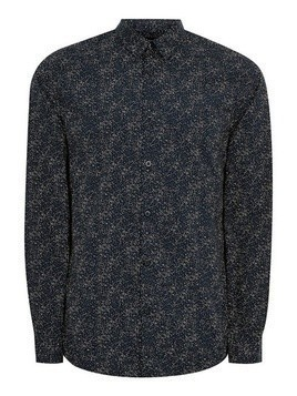 SELECTED Navy Printed Long Sleeve Shirt