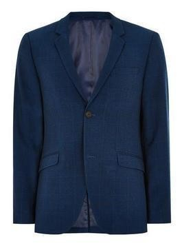 Navy With Subtle Windowpane Check Skinny Suit Jacket
