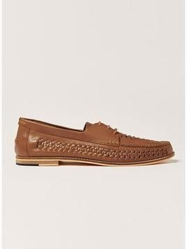 Tan Leather Weave Mantis Lace Shoes
