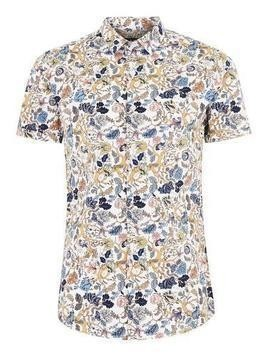 White Wild Floral Short Sleeve Shirt