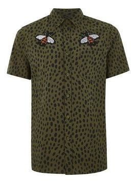 Khaki Dalmatian And Bee Short Sleeve Shirt