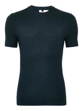 Navy Muscle Ribbed Jumper