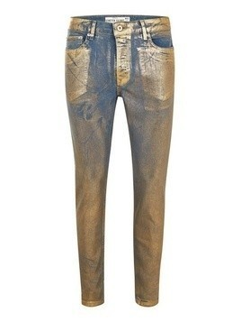 Gold Coated Stretch Skinny Jeans
