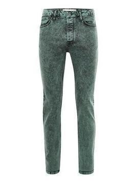 Green Acid Wash Stretch Skinny Jeans