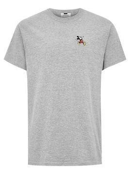 Grey Mickey Mouse Embroidered T-Shirt
