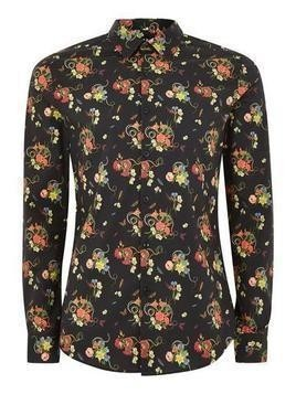 Floral Snake Print Muscle Long Sleeve Shirt