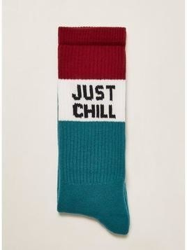 Red and Blue 'Just Chill' Socks
