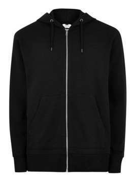 Black Zip Through Hoodie