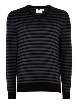 Blue Stripe V Neck Jumper