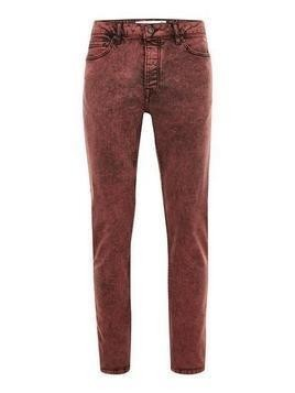 Red Acid Wash Stretch Skinny Jeans