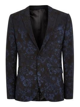 Navy And Black Baroque Skinny Suit Jacket