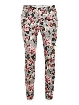 Grey Rose Print Ultra Skinny Trousers