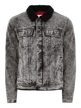 Acid Wash Borg Collar Denim Jacket
