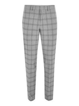 Black And White Check Neppy Muscle Fit Suit Trousers
