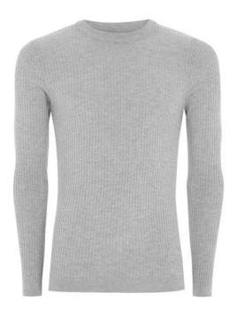 Grey Marl Ribbed Muscle Fit Jumper