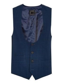 Navy with Subtle Windowpane Check Skinny Waistcoat