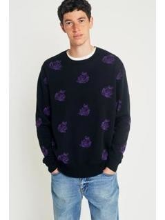 OBEY Shepherd Rose Black and Purple Jumper - Mens L