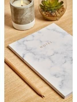 Central 23 White Marble Notebook