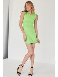 Silence + Noise Mindy Lindy Green Shadow Striped Muscle T-Shirt Dress - Womens M
