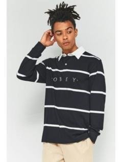 OBEY Bridgewater Black Long-Sleeve Polo Shirt - Mens S