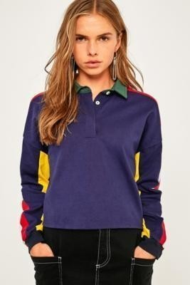 BDG Colour-Blocked Cropped Polo Shirt - Womens S