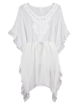 Seafolly PALM BEACH GEO RUFFLED KAFTAN Akcesoria plażowe white