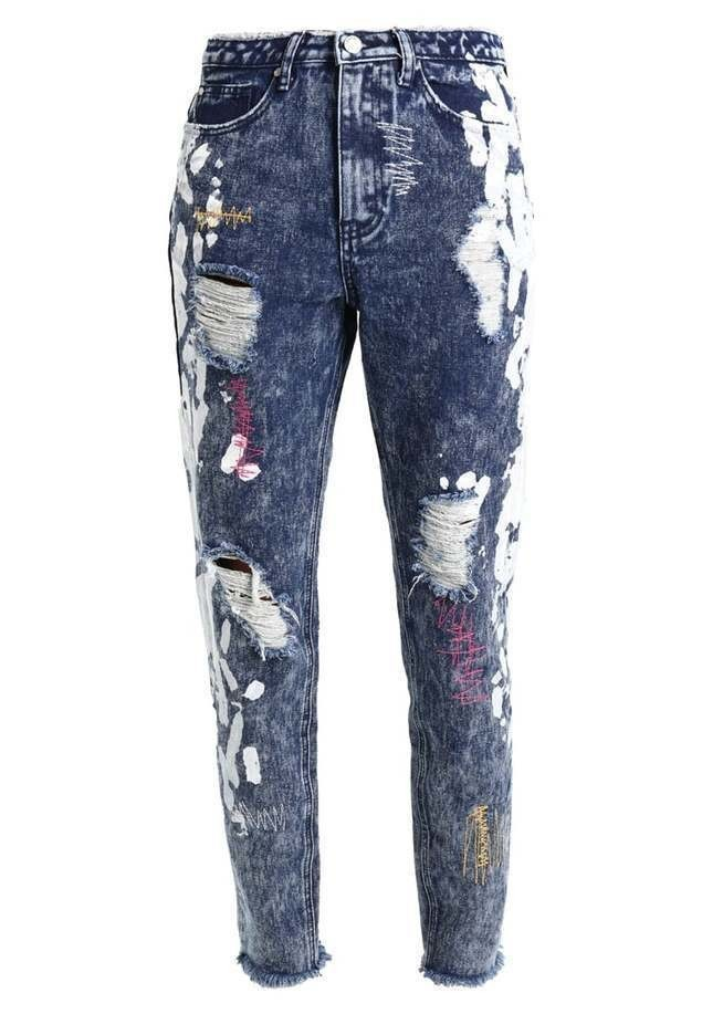 Missguided B&&B VINTAGE WASH DISTRESSED WITH COLOURED STITCH Jeansy Relaxed Fit vintage wash