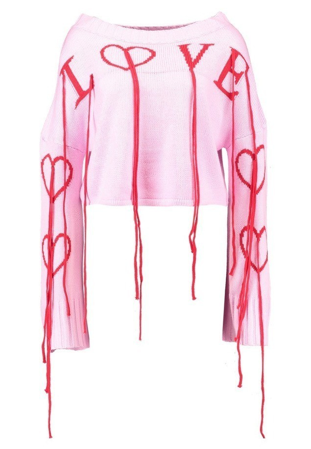Missguided LOVE JUMPER WITH TASSELS Sweter blush